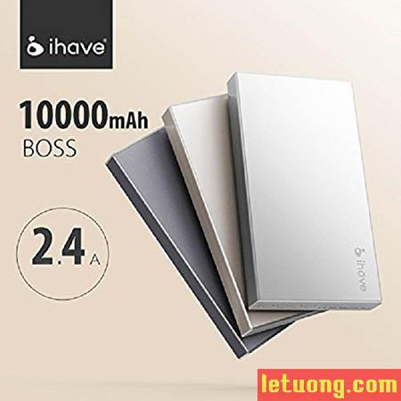 Pin dự phòng Ihave Boss 10000mAh vỏ nhôm Macbook, 2 cổng USB