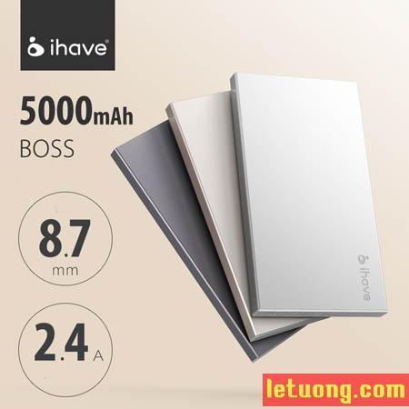 Pin dự phòng Ihave Boss 5000mAh vỏ nhôm Macbook siêu mỏng