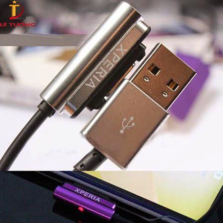 Dây cáp sạc từ Sony Z3/Z2/Z1/M4 Aqua DCU28 2 đầu nhôm + Led 1