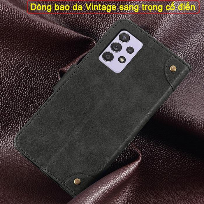 Bao da Galaxy A52 5G iDewei Wallet Vintage Sang Trọng - Cổ điển