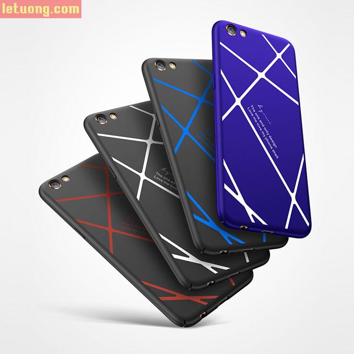 Ốp lưng Oppo F3 LT Case 360 kẻ chéo siêu mỏng, bo kín 360 độ