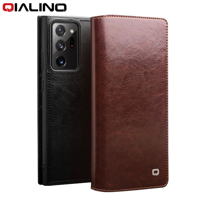 Bao da Note 20 Ultra / Note 20 Ultra 5G Qialino Classic Leather Wallet da thật Hanmade