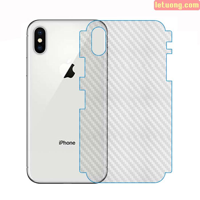 Miếng dán full mặt lưng viền iPhone X / iPhone Xs vân Carbon trong suốt - chống vân tay