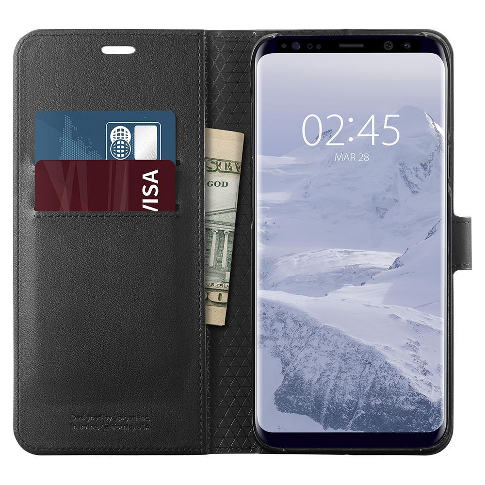 Bao da Galaxy S9 Plus (S9+) Spigen Wallet S đa năng từ Mỹ tặng dán lưng Carbon