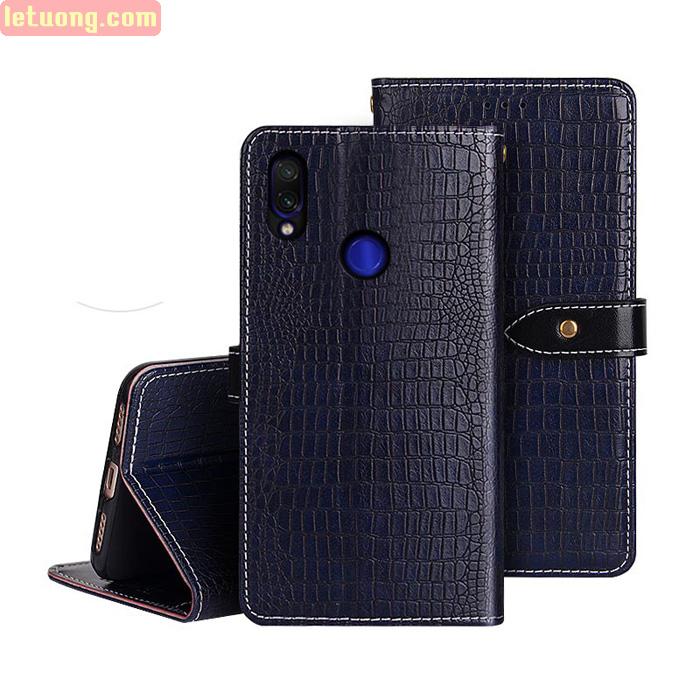 Bao da Redmi Note 7 Pro Idewei Flip Wallet Crocodile vân cá sấu