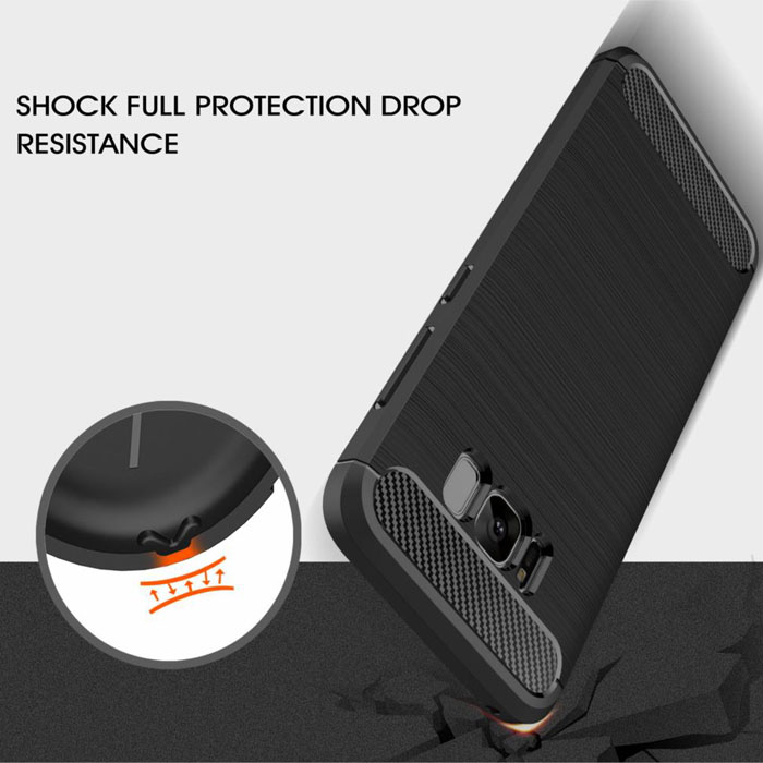 Ốp lưng Galaxy S8 Viseaon Rugged Carbon nhựa dẻo TPU chống sốc