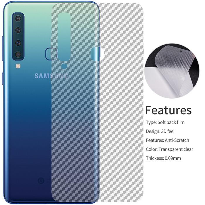 Miếng dán mặt lưng Galaxy A9 2018 vân carbon trong suốt - chống vân tay