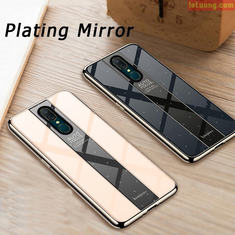 Ốp lưng Oppo F11 LT Koojoo+ Glass Plating lưng kính viền mạ Crom