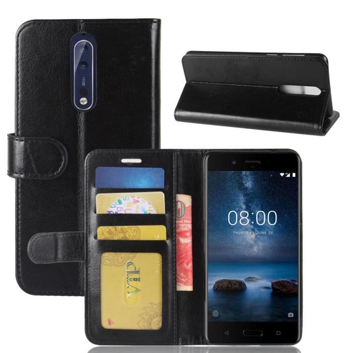 Bao da Nokia 8 LT Flip Wallet dạng ví đa năng, khung mềm chống sốc