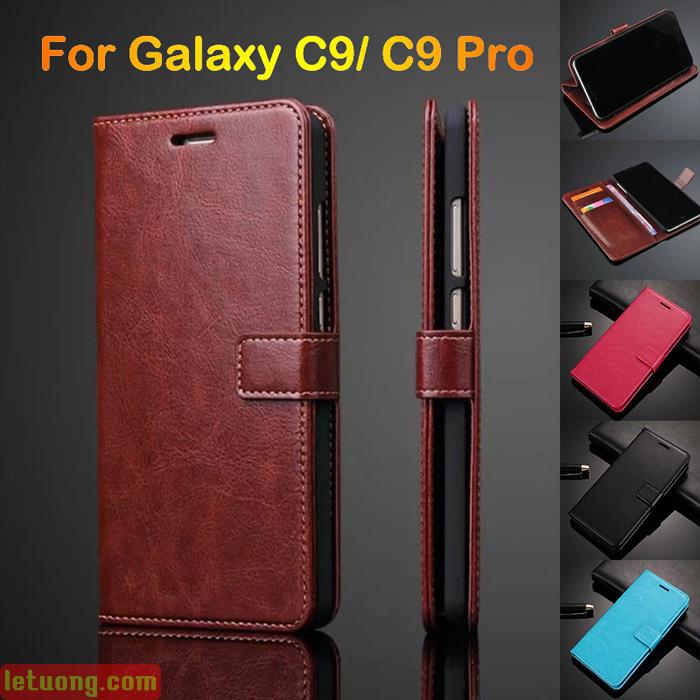 Bao da Galaxy C9 Pro LT Flip Wallet dạng ví đa năng, sang trọng
