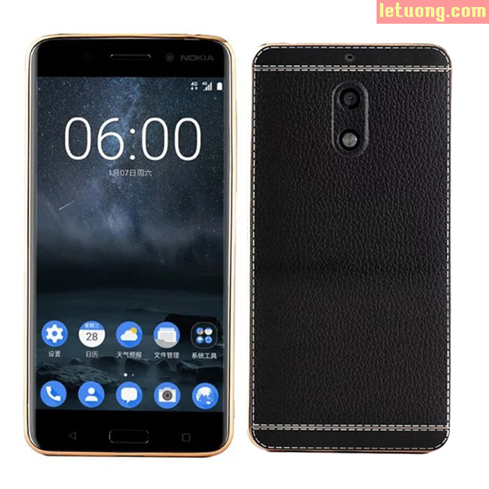 Ốp lưng Nokia 6 LT Leather Case viền mạ Crom bóng sang trọng