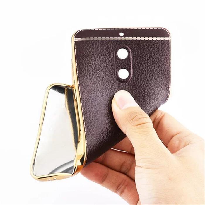 Ốp lưng Nokia 6 LT Leather Case viền mạ Crom bóng