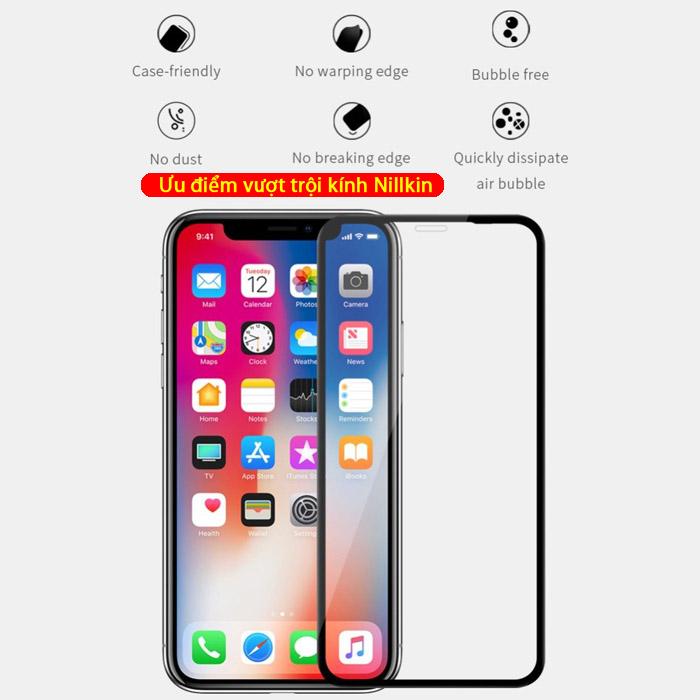 Kính cường lực iPhone Xs Max Nillkin 3D XD+ full màn dùng được ốp lưng