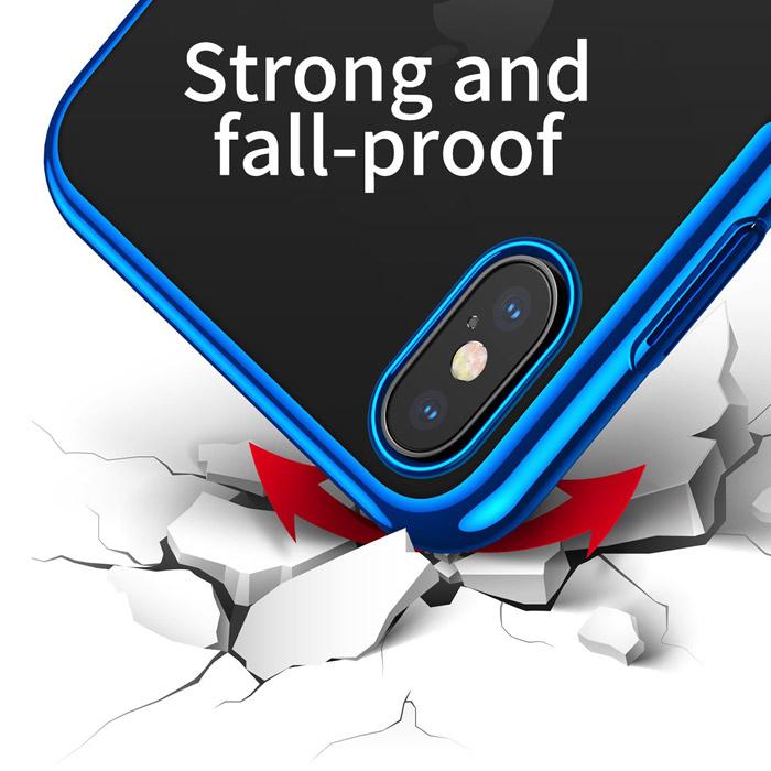 Ốp lưng iPhone Xs Max Baseus Glitter trong suốt + viền mạ Crom
