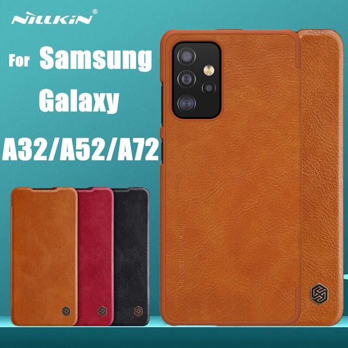 Bao da Samsung A72, A72 5G Nillkin Qin Leather vân gỗ - cổ điển