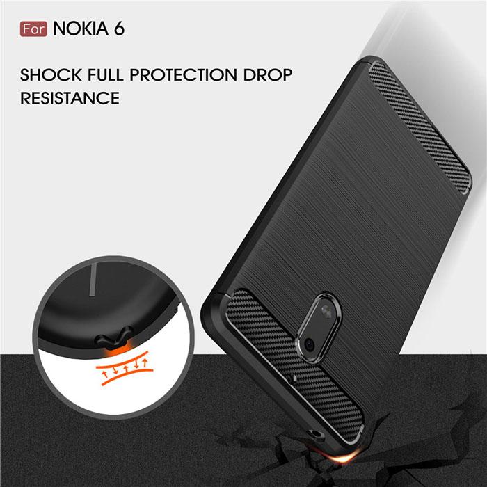 Ốp lưng Nokia 6 Viseaon Rugged Armor Carbon nhựa dẻo cao cấp