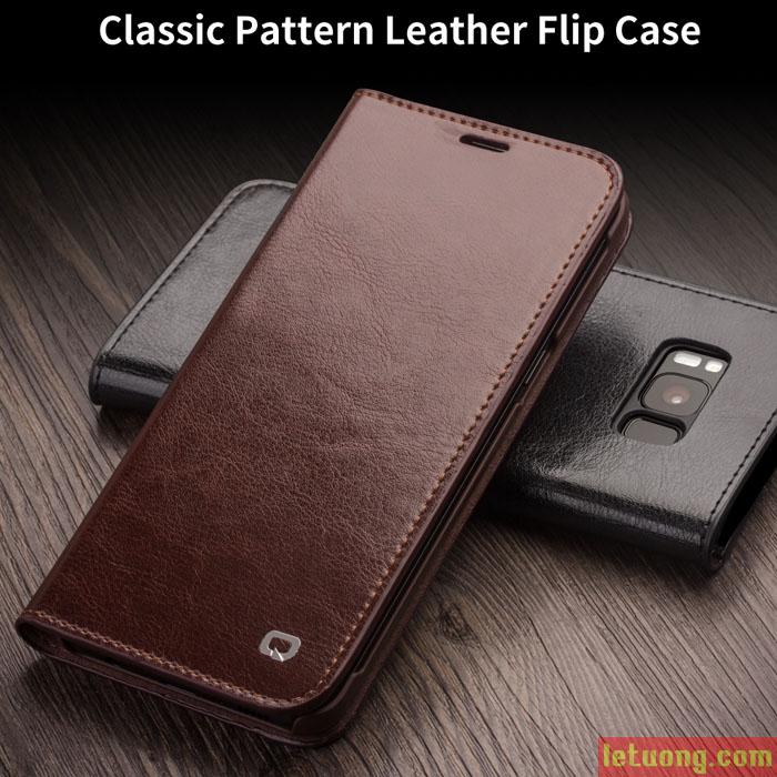 Bao da Galaxy S8 Qialino Classic Leather Wallet da thật Hanmade