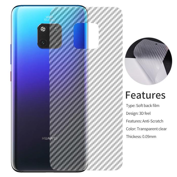 Miếng dán mặt lưng Huawei Mate 20 Pro vân Carbon 3D trong suốt - chống vân tay