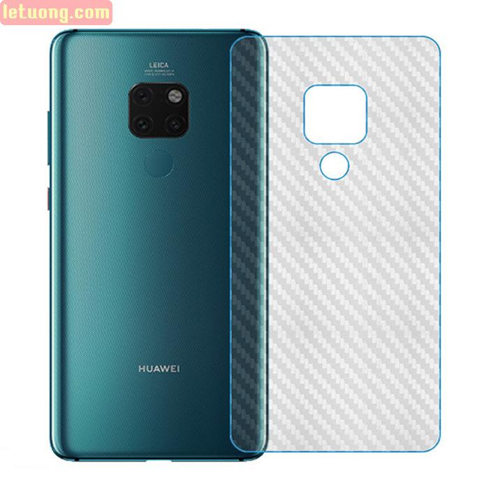 Miếng dán mặt lưng Huawei Mate 20 vân Carbon 3D - chống vân tay