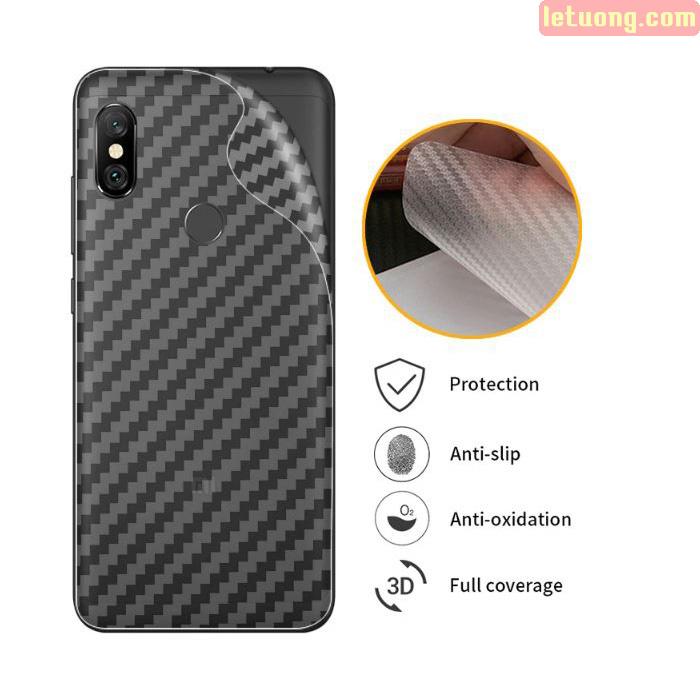 Miếng dán mặt lưng Redmi Note 6 Pro vân Carbon 3D - chống vân tay