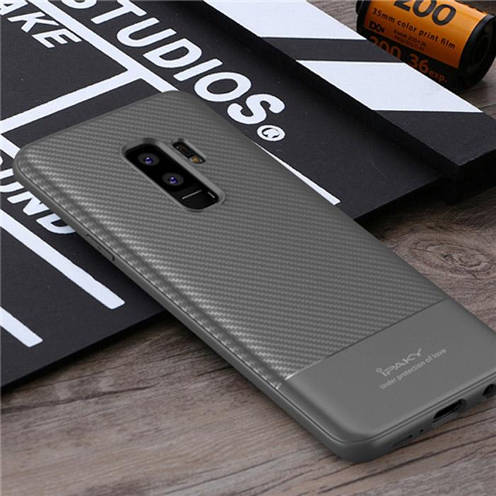Ốp lưng Galaxy S9 Plus Ipaky Carbon Fiber chống vân tay - tặng dán lưng Carbon