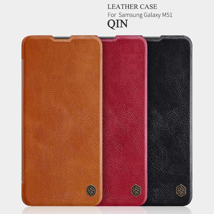Bao da Samsung Galaxy M51 Nillkin Qin Leather vân gỗ cổ điển
