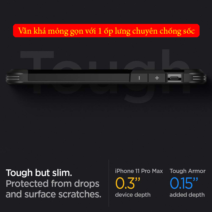 Ốp lưng iPhone 11 Pro Max Spigen Tough Armor chống va đập ( hàng USA )