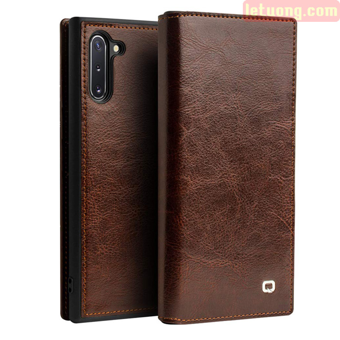 Bao da Galaxy Note 10 Qialino Classic Leather Wallet da thật Hanmade