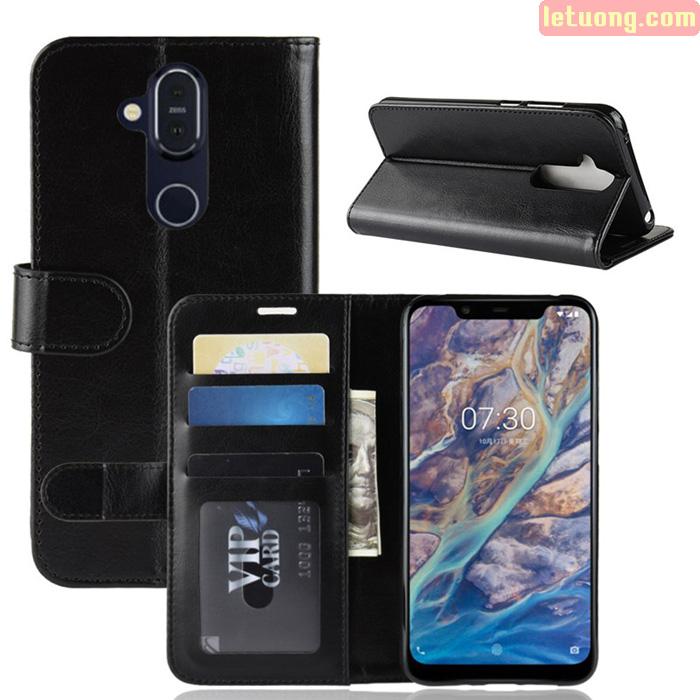Bao da Nokia 8.1 LT Wallet Leather dạng ví đa năng - khung mềm