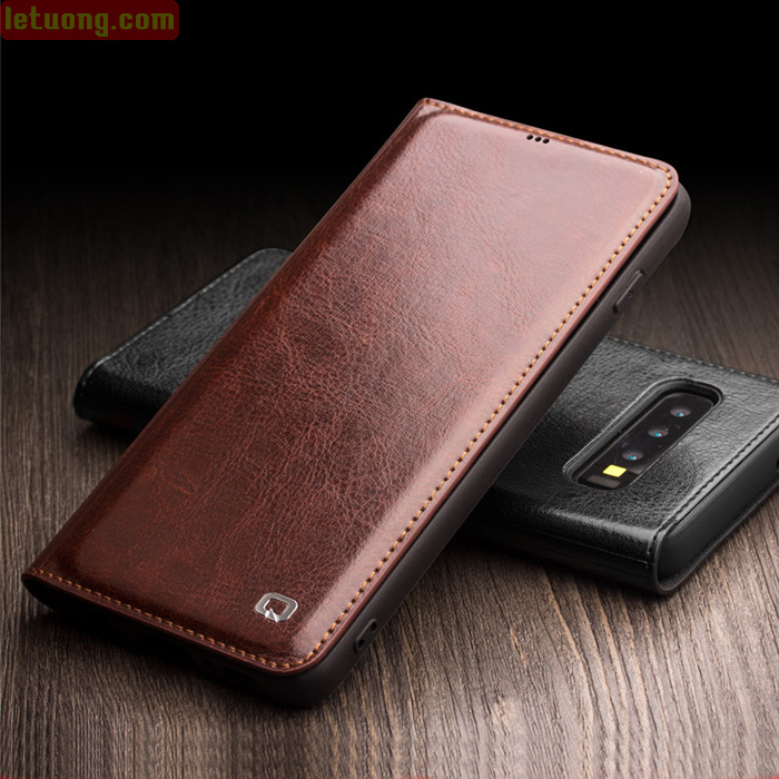 Bao da Galaxy S10 Plus Qialino Classic Leather Wallet da thật Hanmade