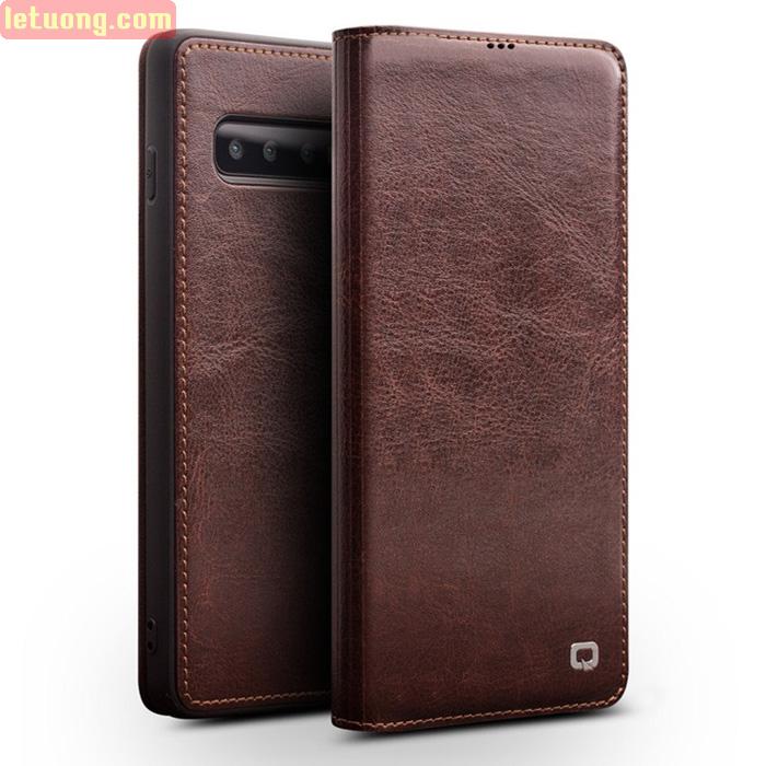 Bao da Galaxy S10 Plus Qialino Classic Leather Wallet da thật Hanmade