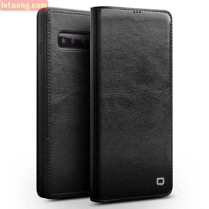 Bao da Galaxy S10 Qialino Classic Laether Wallet da thật Hanmade + Tặng dán lưng Carbon