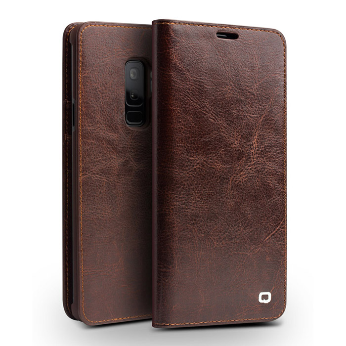 Bao da Galaxy S9 Plus Qialino Classic Leather Wallet da thật Hanmade