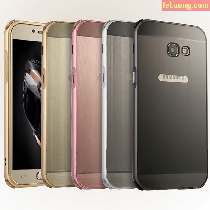 Ốp lưng Galaxy A7 2017 LT Metal nhôm phay + dán lưng Carbon