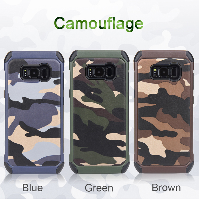 Ốp lưng Galaxy S8 NXcase Camouflage chống sốc + dán lưng Carbon