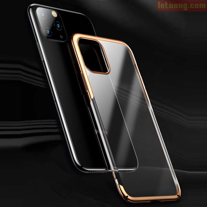 Ốp lưng iPhone 11 Pro Max Baseus Glitter trong suốt + viền mạ Crom