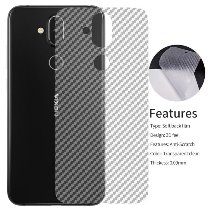 Miếng dán full mặt lưng Nokia 8.1 / X7 2018 vân Carbon chống vân tay - trong suốt