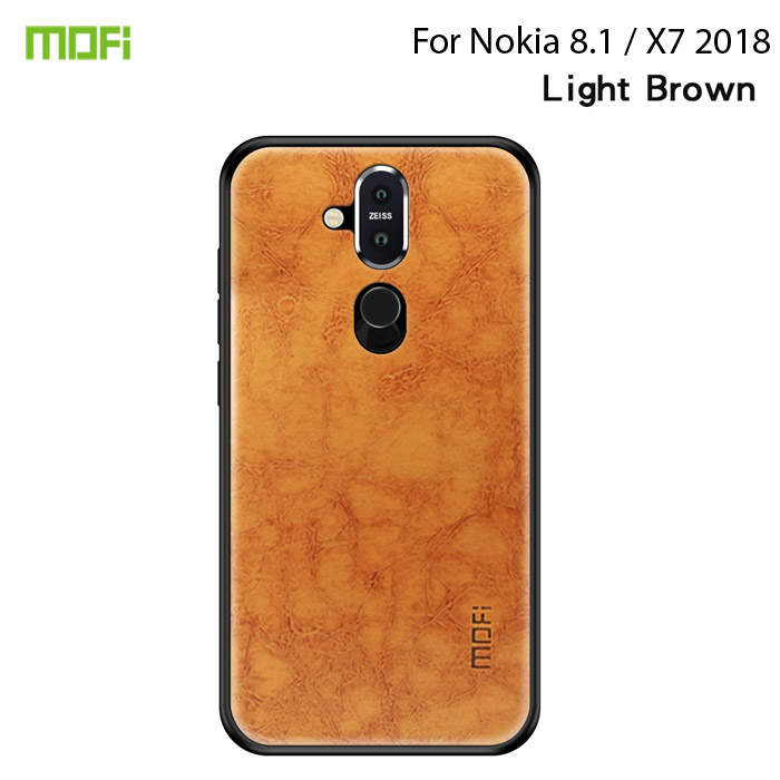 Ốp lưng Nokia 8.1 / X7 2018 Mofi Pin Series vân da - cực đẹp + Tặng dán lưng Carbon