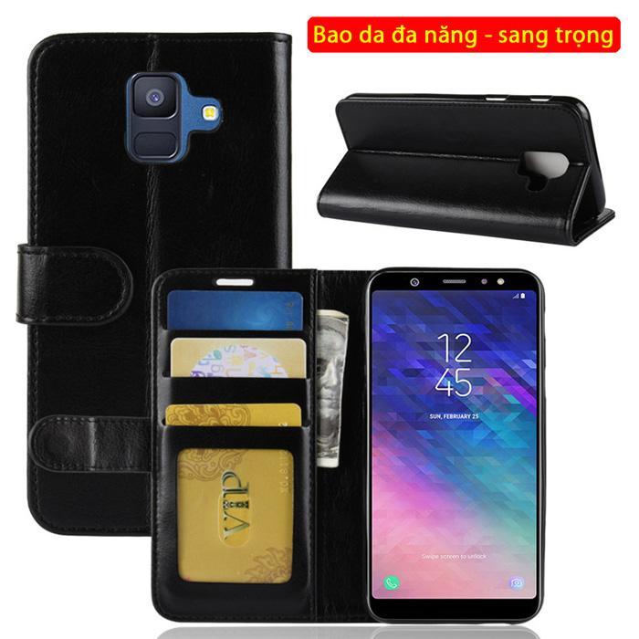 Bao da Galaxy A6 2018 LT Wallet Leather đa năng - khung mềm