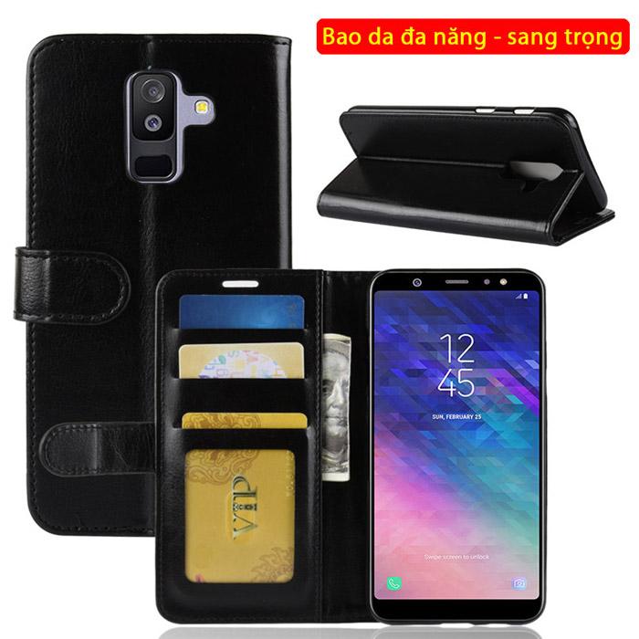 Bao da Galaxy A6 Plus 2018 LT Wallet Leather đa năng - khung mềm