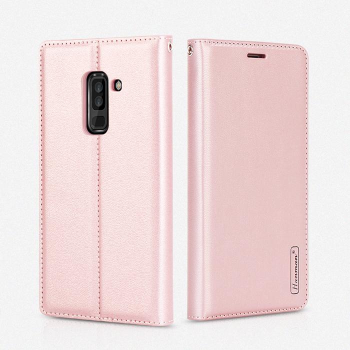 Bao da Galaxy A6 Plus 2018 Hanman Canvas Diary đa năng + dây đeo
