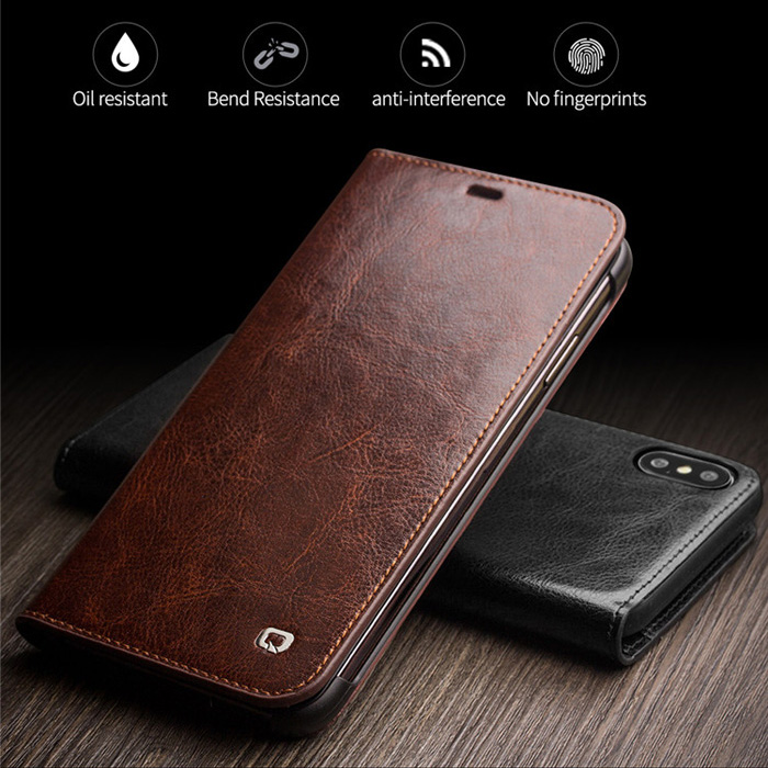 Bao da iPhone Xs Max Qialino Classic Leather Hanmade da thật