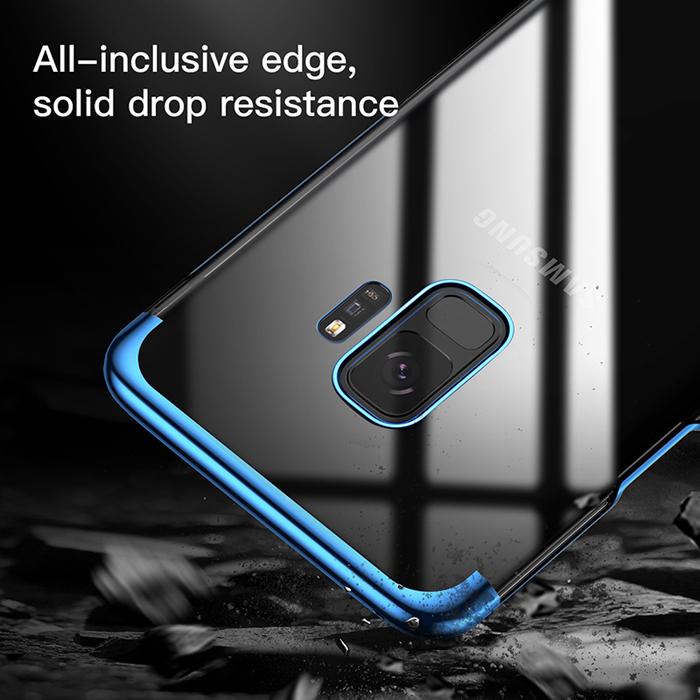 Ốp lưng Galaxy S9 Baseus Glitter trong suốt viền crom, tặng dán lưng Carbon