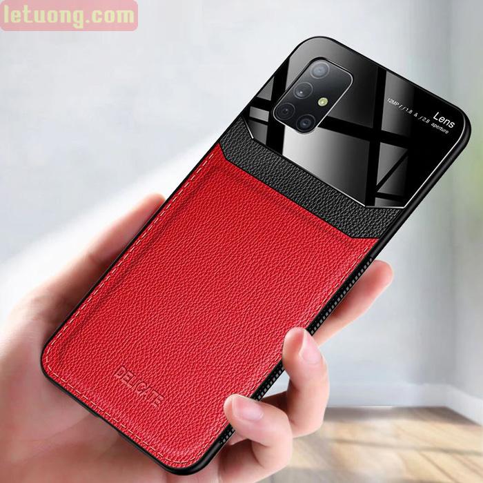 Ốp lưng Galaxy A51 LT Delicate Leather Glass - Lưng Da kết hợp kính