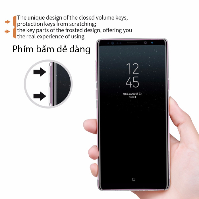 Ốp lưng Galaxy Note 9 Nillkin Nature TPU nhựa dẻo, trong suốt 0,6mm