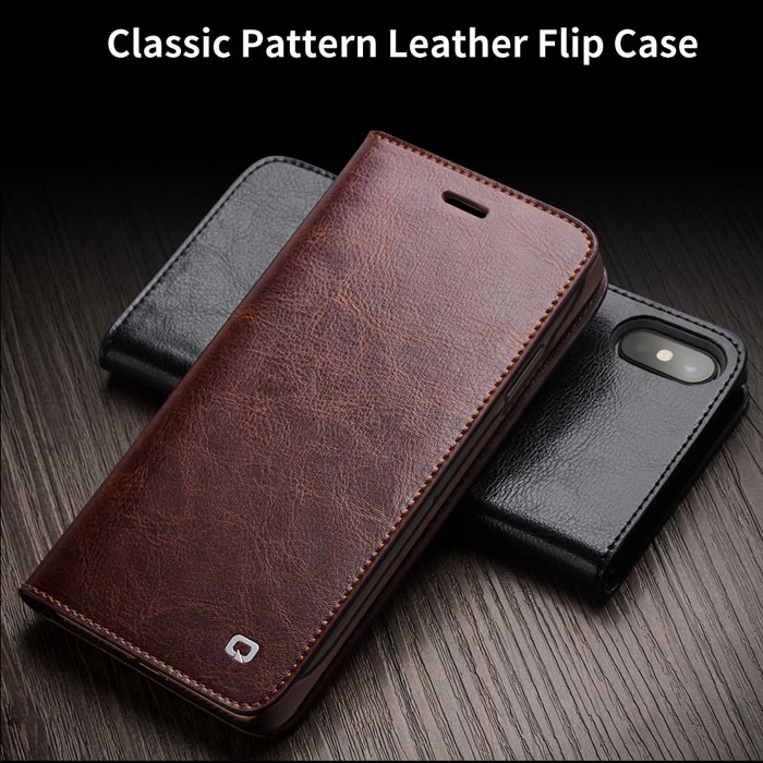 Bao da iPhone Xs / X Qialino Classic Leather Hanmade da thật