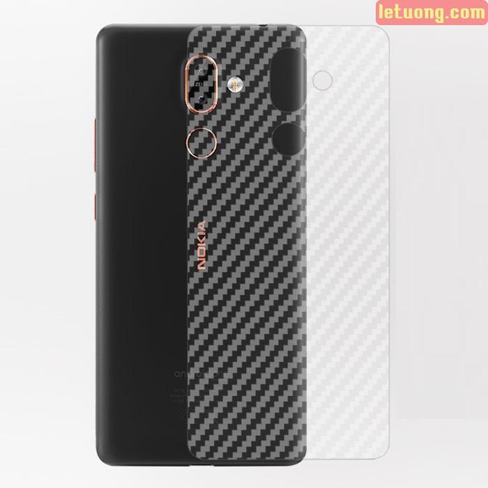 Miếng dán full mặt lưng Nokia 7 Plus vân Carbon trong suốt
