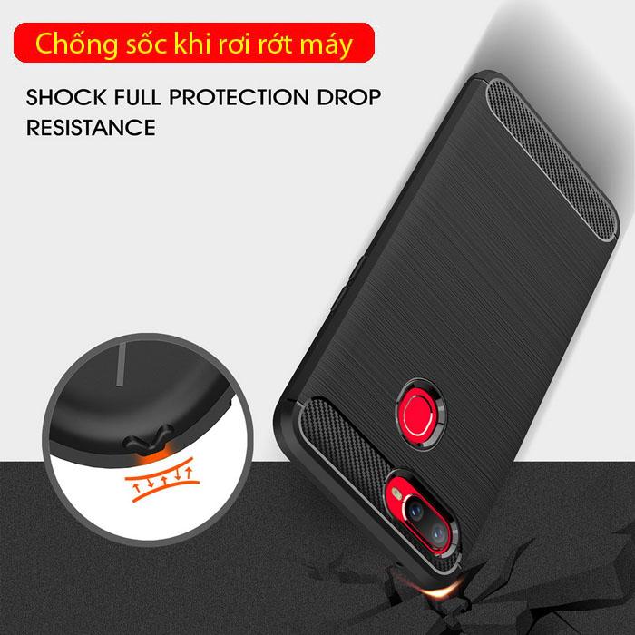Ốp lưng Oppo F9 Viseaon Carbon Fiber nhựa mềm - chống vân tay