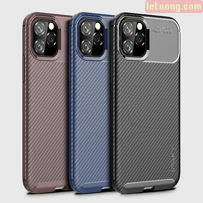Ốp lưng iPhone 11 Pro Max iPaky Carbon Fiber Case chống bám vân tay