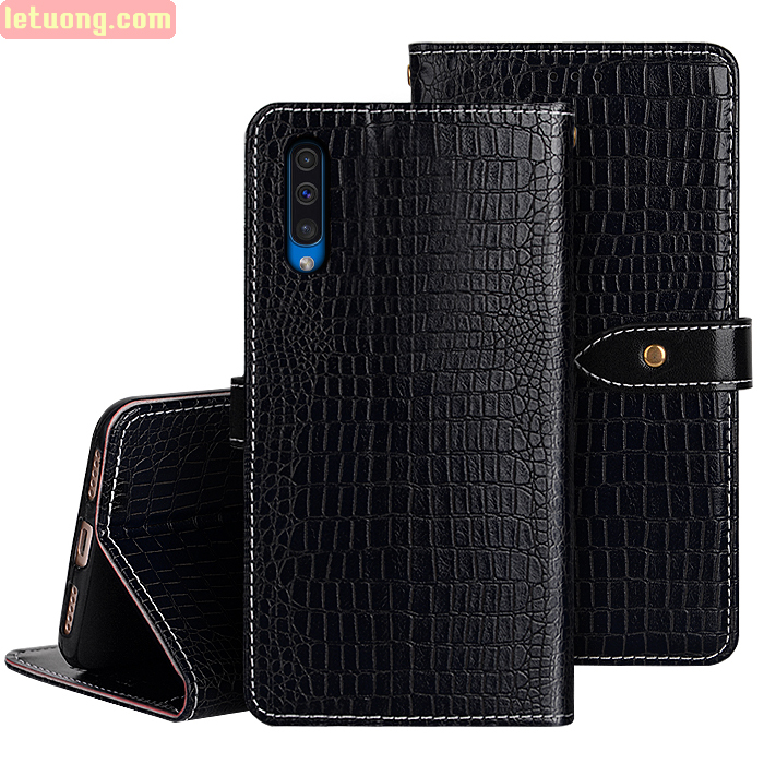 Bao da Galaxy A30s / A50 Idewei Flip Wallet Crocodile vân cá sấu - dạng ví đa năng
